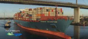 Melbourne welcomes large container ship Maersk Skarstind
