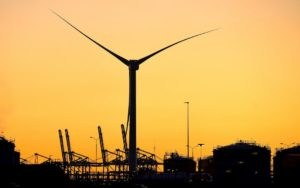 Giant wind turbine on Maasvlakte