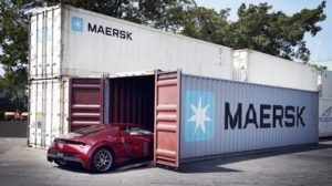Supercar's journey in a Maersk container